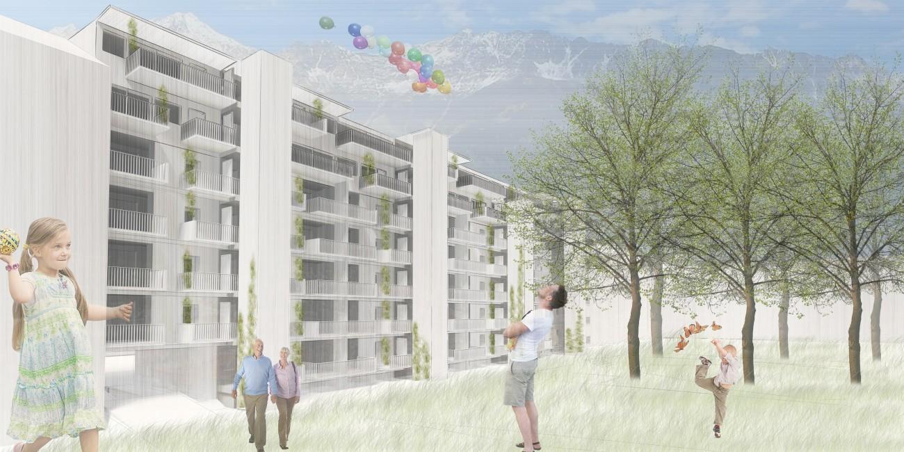 Sozialer Wohnungsbau Aufstockung Schubertblock:  1. Preis